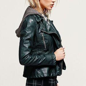 Vegan leather hooded jacket free people